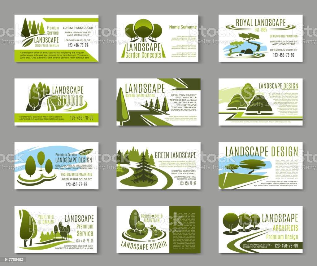Landschaftdesignstudiovisitenkartevorlage Stock Vektor Art