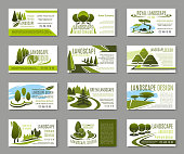 Landscape design studio business card for landscaping, gardening and lawn care service template. Green tree landscape with grass lawn, walking path and decorative plant for corporate identity design
