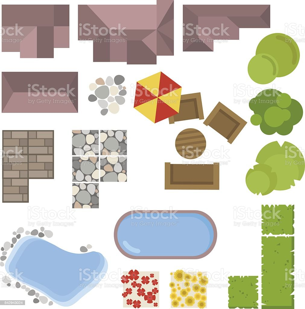 Landscape Elements Top  View  House  Garden Tree Lakeswimming