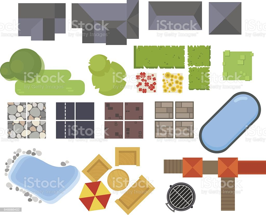 Landscape elements, top view. House, garden, tree, lake,swimming pools vector art illustration