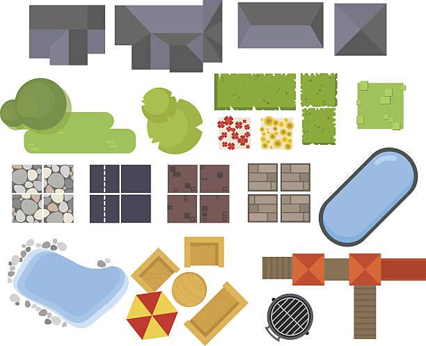 illustrations, cliparts, dessins animés et icônes de paysage éléments, vue du haut. maison de jardin d'arbres, le lac, piscine - sol caractéristiques d'une construction