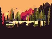 Landscape forest flat design. Nature tree, green environment, natural scene wood, vector illustration