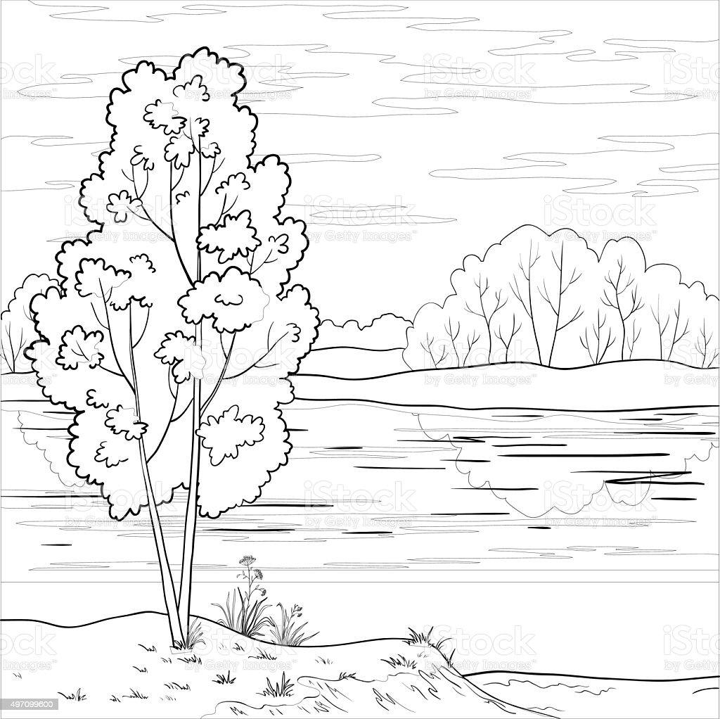 Landscape. Forest river, outline vector art illustration