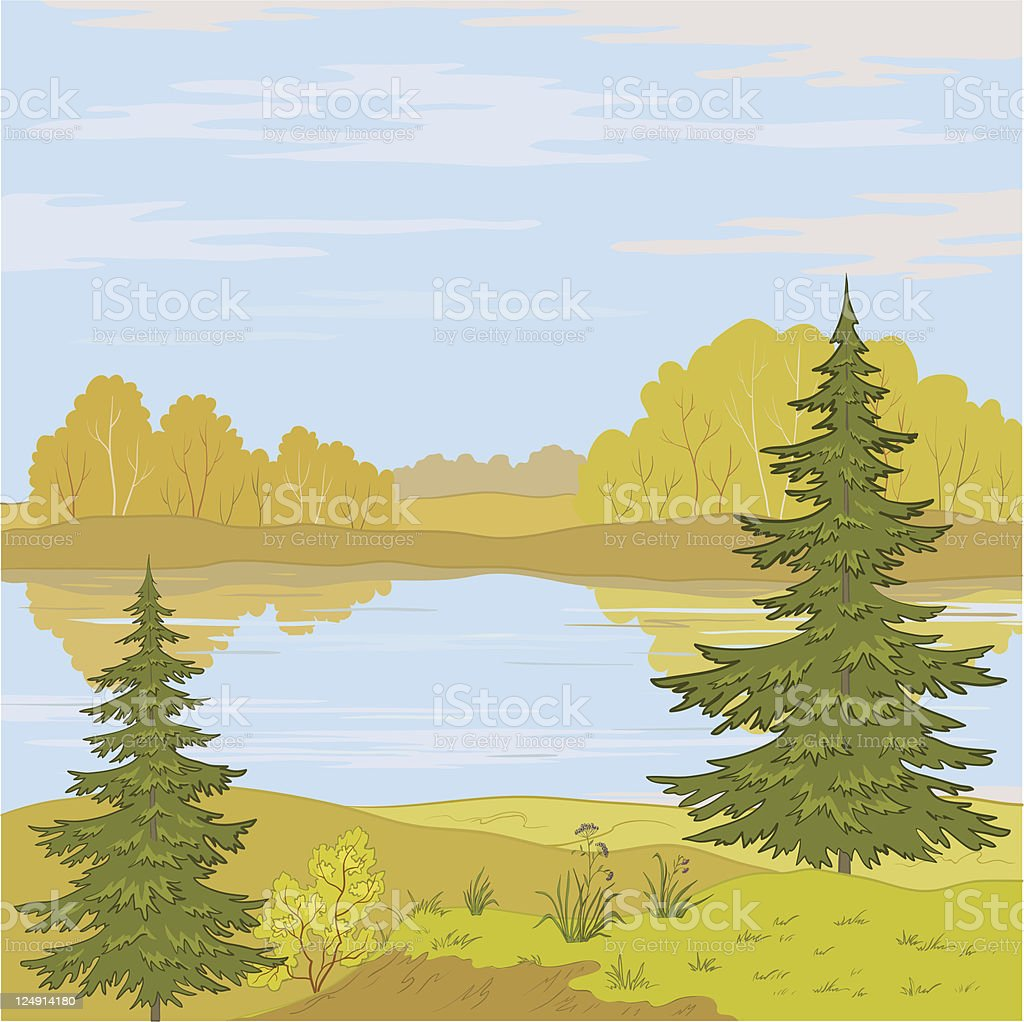 Landscape. Forest river vector art illustration