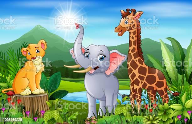 Landscape forest with happy animals cartoon vector id1098169228?b=1&k=6&m=1098169228&s=612x612&h=l srwcd9rprjyr9ytu6njillday6x8bvxs25twe0a34=