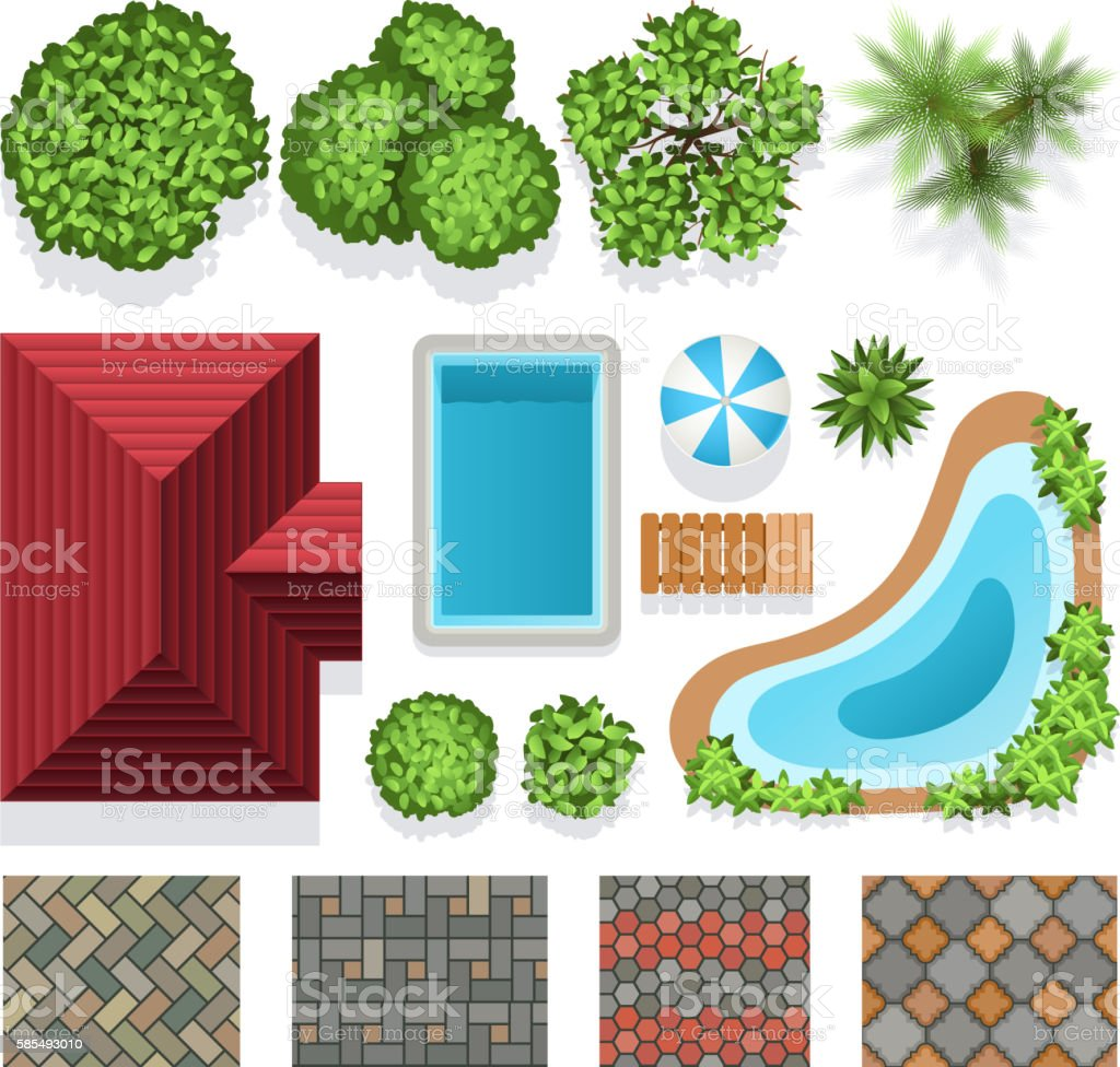 Landscape garden design vector elements top view vector art illustration