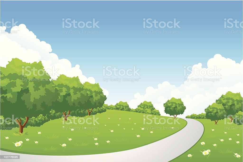 Landscape - green hill with tree and cloudscape royalty-free landscape green hill with tree and cloudscape stock vector art & more images of art