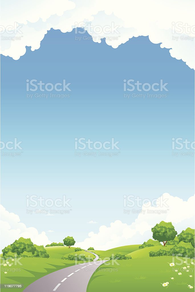 Landscape - green hill with tree road and cloudscape royalty-free landscape green hill with tree road and cloudscape stock vector art & more images of art