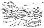 Landscape Historic Town Castle Drawing