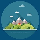 Landscape. Houses in the mountains among the trees. Flat style, vector illustrations.