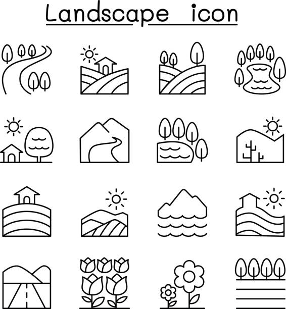 Landscape icon set in thin line style Landscape icon set in thin line style valley stock illustrations