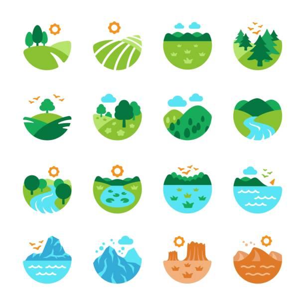 ilustrações de stock, clip art, desenhos animados e ícones de landscape icon set - river