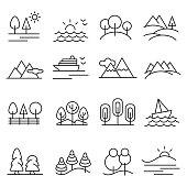 Landscape icon set , vector illustrator