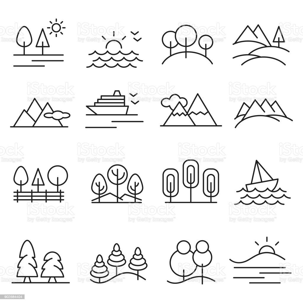 Landscape icon set vector art illustration