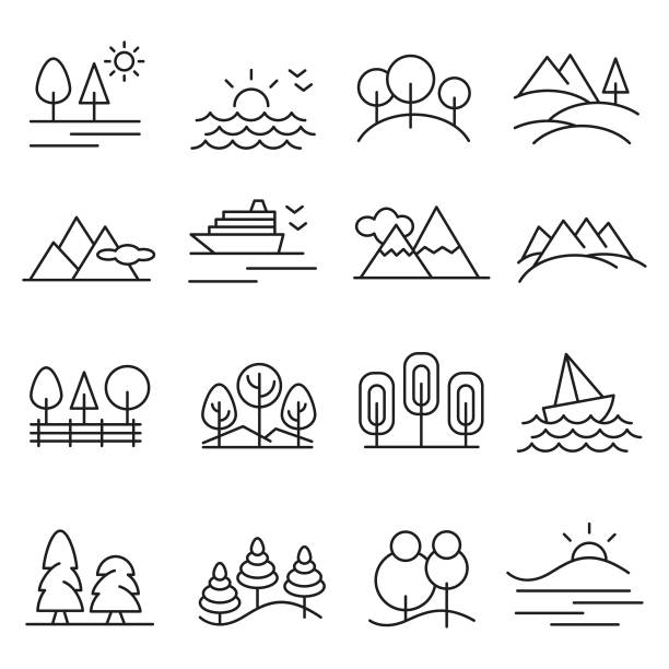 stockillustraties, clipart, cartoons en iconen met landschap pictogramserie - natuur