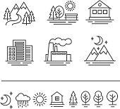 landscape icons set