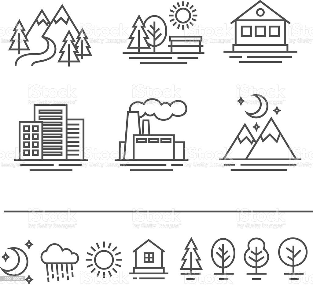 landscape icons set vector art illustration