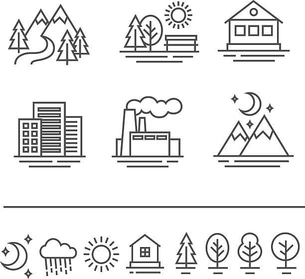 landscape icons set - städtische mode stock-grafiken, -clipart, -cartoons und -symbole