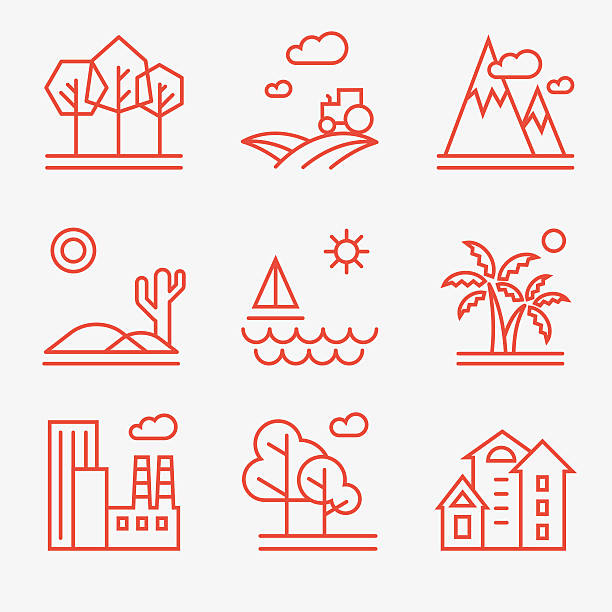 landscape icons - nature travel stock illustrations, clip art, cartoons, & icons