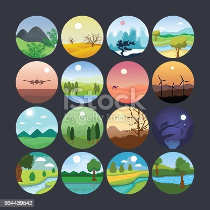 This illustration set is composed of vast landscape elements ranging from desserts to farms, rising sun to sun setting, mountain peaks to barren lands.