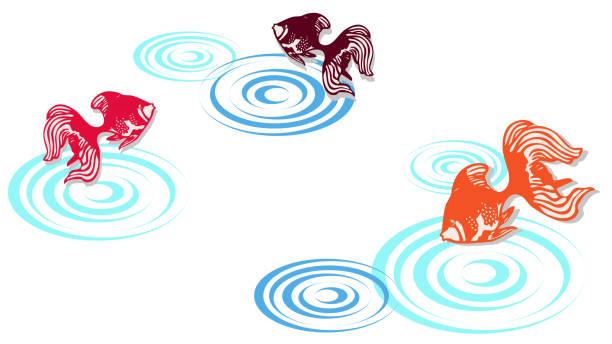 Landscape illustration with ripples made by goldfish vector art illustration
