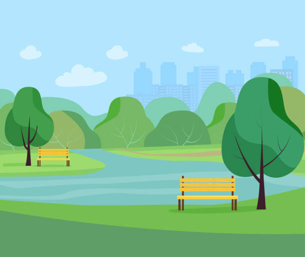 stockillustraties, clipart, cartoons en iconen met landschap in stadspark.  vlakke stijl illustratie vector. - openbaar park