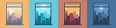 Landscape in window. City view from home. Morning or evening cityscapes set. Urban scenery at different day times. Silhouettes of modern buildings illuminated by sun and moon. Vector downtown panorama