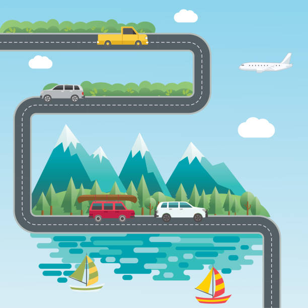 Landscape Infographic - People Travelling To Their vacation Destinations vector art illustration