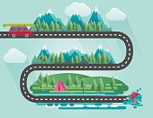 Infographic Landscape Of Mountains, Trees And Cars Travelling To Their vacation Destinations.