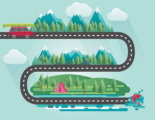 landscape infographic - people travelling to their vacation destinations - road trip stock illustrations