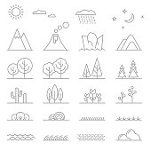 Landscape elements. Trees and mountains, bushes and water. Linear rain and volcano, water and grass, vector illustration