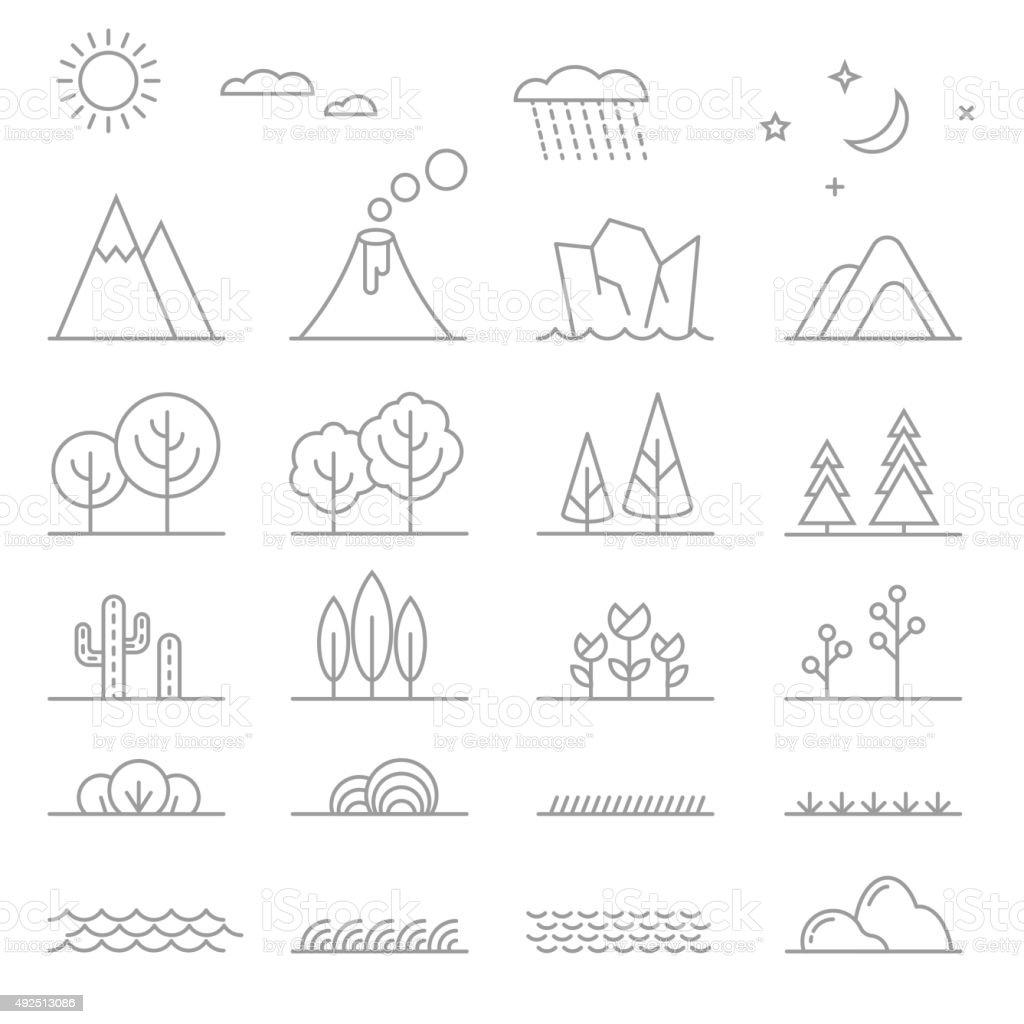 Landscape line elements vector art illustration