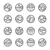 landscape thin line icon set,vector and illustration