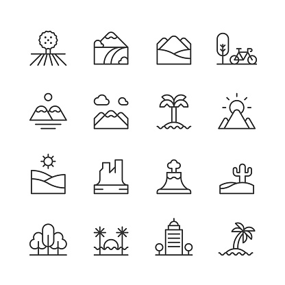 Landscape Line Icons. Editable Stroke. Pixel Perfect. For Mobile and Web. Contains such icons as Beach, City, Countryside, Desert, Environment, Forest, Hiking, Island, Landscape, Mountain, Nature, Outdoors, Park, Summer, Sun, Tree, Vacation, Volcano
