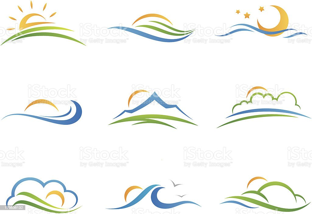 Landscape logo and icon vector art illustration