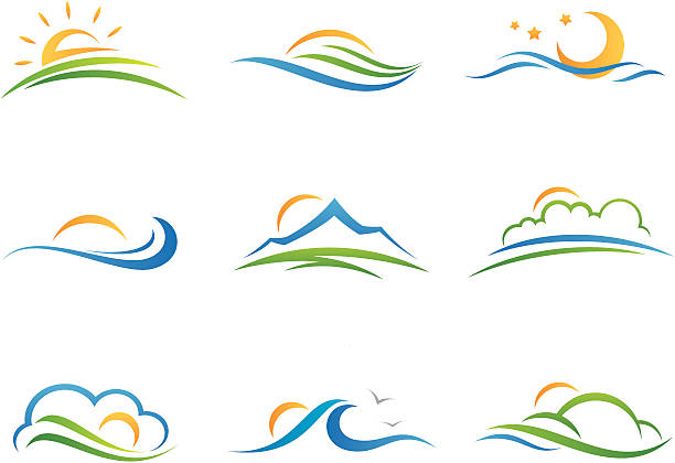 landscape logo and icon - river paper stock illustrations, clip art, cartoons, & icons