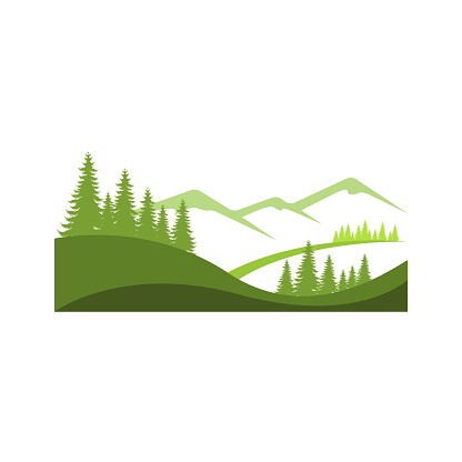 Landscape mountain pine tree design outdoor logo vector image. Mountain and Pine tree Logo design. Vector Illustration