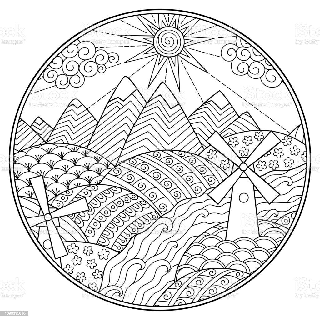 Ilustración De Libro Para Colorear De Paisaje Montañas Ríos