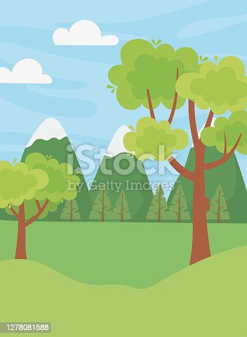 landscape mountians alps snow trees field clouds sky vector illustration