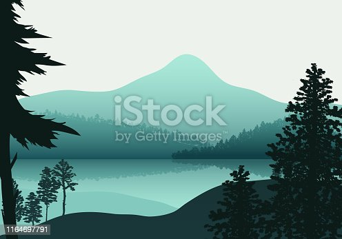 Landscape nature, background river and lake, mountains and coniferous, tropical forests.