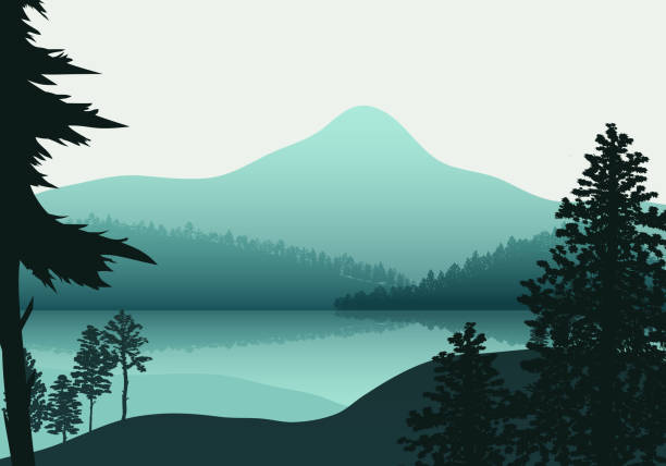 Landscape nature, background river and lake, mountains and coniferous, tropical forests Landscape nature, background river and lake, mountains and coniferous, tropical forests. lakes stock illustrations