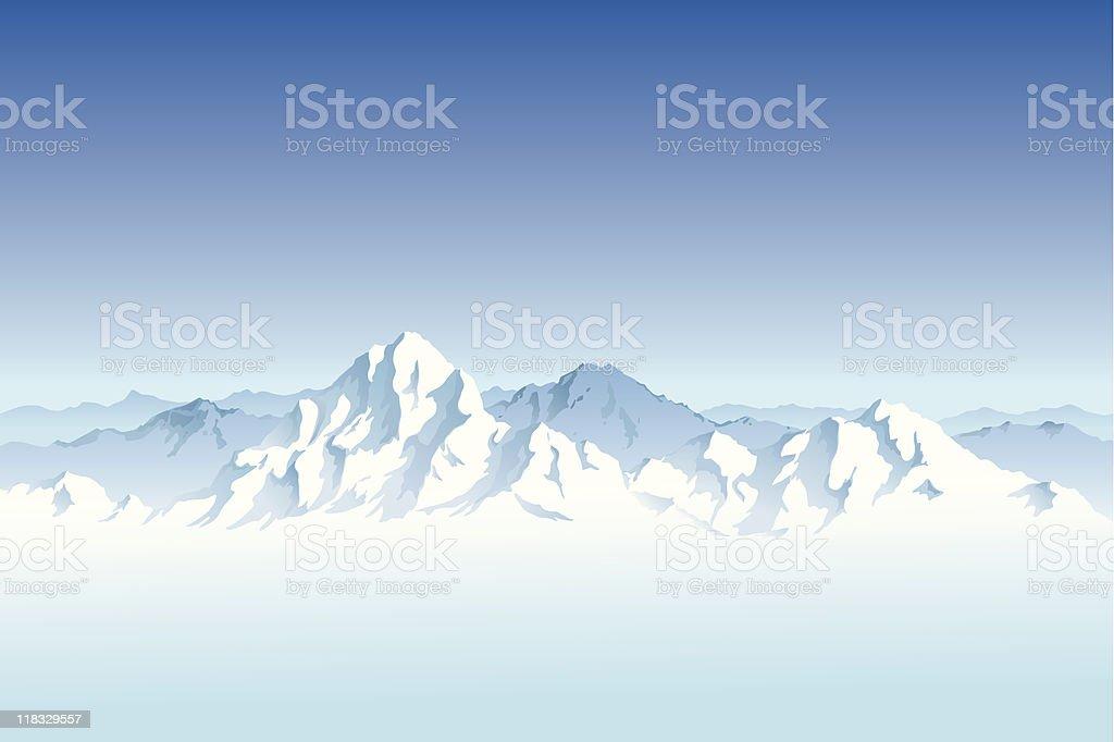 Landscape of a snowy mountain range vector art illustration