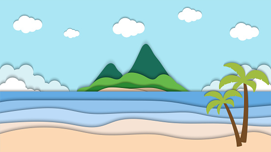 landscape of beach and mountain paper cut vector illustration, good for abstract background,wallpaper and backdrop etc