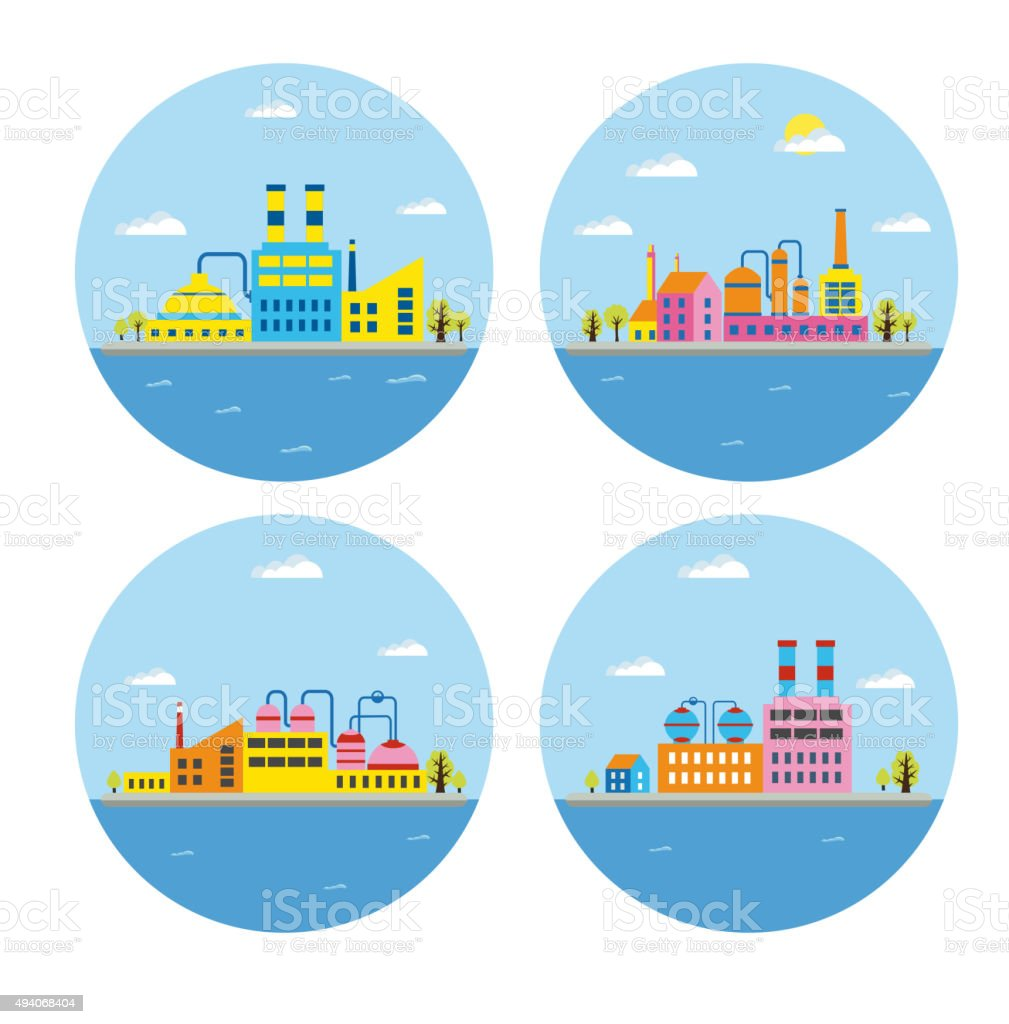 landscape of buildings vector art illustration