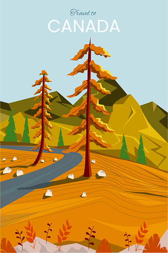 Landscape of Canada. Mountains, road and forest. Vector illustration. Postcard of Canada.