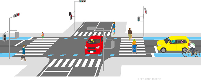 Landscape of Cars and Pedestrians on the Left-hand Road. Japan