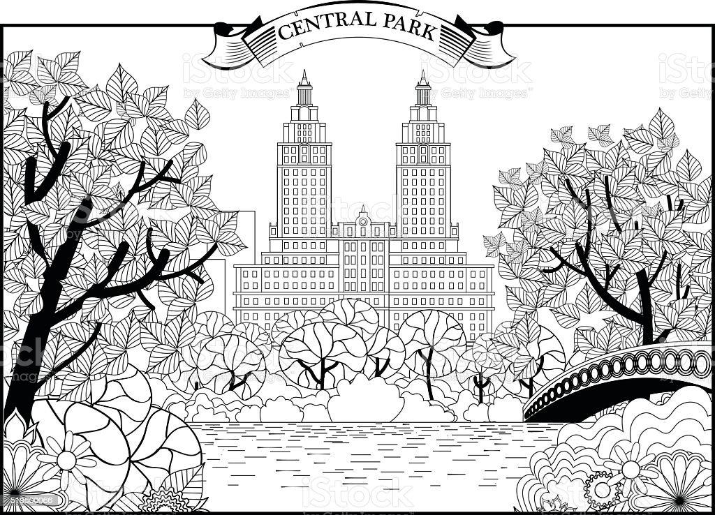 Landscape of Central Park in New York. USA. Black and vector art illustration