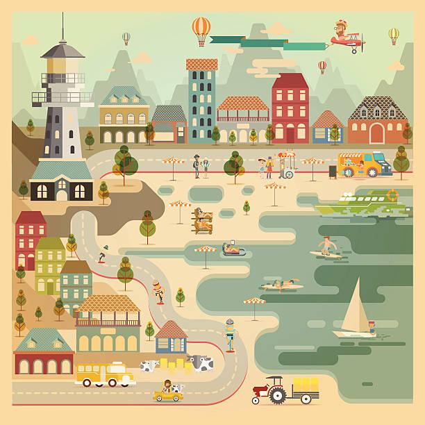 landschaft landschaft harbor village - lustige kuh bilder stock-grafiken, -clipart, -cartoons und -symbole