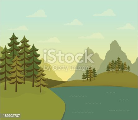 A retro-styled forest of evergreen trees on hills next to a flowing river or lake. Mountains in the background. Sky has a soft glow of the sun and clouds.  AI CS4 file and large jpg included. All elements labeled and organized on separate layers for easy color changes.