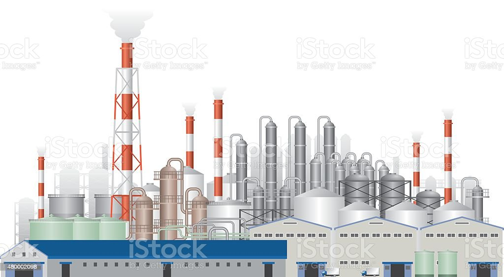 Landscape of factory vector art illustration